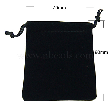 Velvet Jewelry Bags, Black, 90x70mm(X-TP-A001-7x9cm-2)
