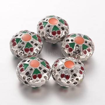 Colorful Flat Round Alloy Beads