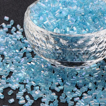 11/0 Two Cut Glass Seed Beads, Hexagon, Trans.Colours Rainbow, SkyBlue, Size: about 2.2mm in diameter, about 37500pcs/Pound(CSDB163)