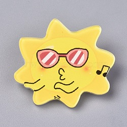 Acrylic Badges Brooch Pins, Cute Lapel Pin, for Clothing Bags Jackets Accessory DIY Crafts, Sun, Yellow, 33.5x38x7.5mm; Pin: 0.8mm(JEWB-E676-36)