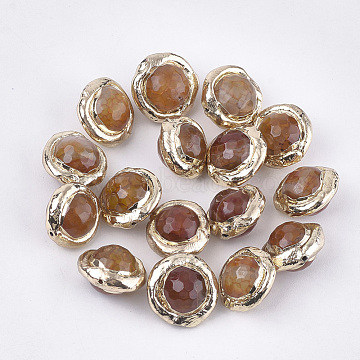 Natural Agate Beads, with Electroplate Polymer Clay, Faceted, Dyed, Planet, Peru, 13~14x13~14x10~10.5mm, Hole: 0.8mm(X-G-S260-09B-04)