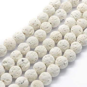 Natural Lava Rock Round Beads Strands, Round, White, 10mm, Hole: 1mm; about 37pcs/strand, 15.15 inches(38.5cm)(X-G-E508-04-10mm)