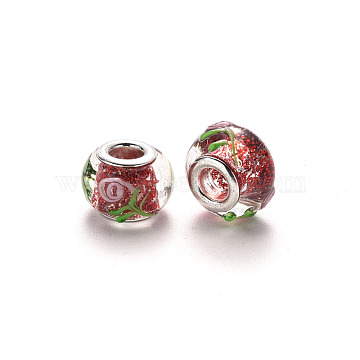 Handmade Lampwork European Beads, Large Hole Rondelle Beads, with Glitter Powder and Platinum Tone Brass Double Cores, Bumpy Lampwork, Flower, Red, 14~15x9~10mm, Hole: 5mm(LPDL-N001-047-D02)