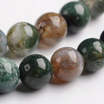 Round Natural Indian Agate Gemstone Bead Strands, 6mm, Hole: 1mm, about 65pcs/strand, 14.9 inches(G-J333-07-6mm)
