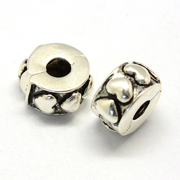 Alloy European Style Clasps, Column with Heart, Antique Silver, 11x6mm, Hole: 3mm(PDLC-R001-15AS)