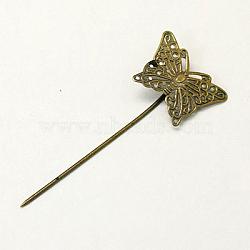 conclusions de bâton de cheveux fer, avec plateau de papillon en laiton, sans nickel, bronze antique, 58 mm(IFIN-I010-AB-NF)