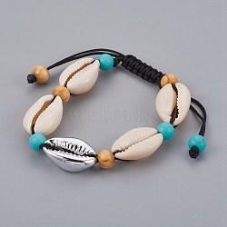"""Bracelets réglables en nylon avec cordon de nylon, avec des perles de cauris et des perles de coquille de mer galvanisées, Perle en bois, turquoise synthétique, gris clair, 1-5/8"""" (4cm) ~ 2-1/2"""" (6.6cm)(BJEW-JB04090-01)"""