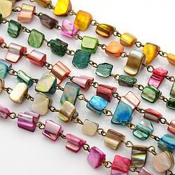 """Chaînes de perles de coquillage de mer manuelles pour la fabrication de bracelets et colliers, avec épingle à oeil en fer, non soudée, bronze antique, couleur mixte, 39.3""""(AJEW-JB00068)"""