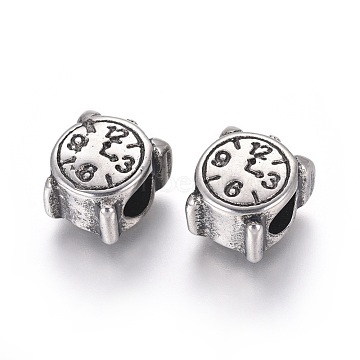 304 Stainless Steel European Beads, Large Hole Beads, Clock, Antique Silver, 12x10x7.5mm, Hole: 4.5mm(STAS-I121-16AS)