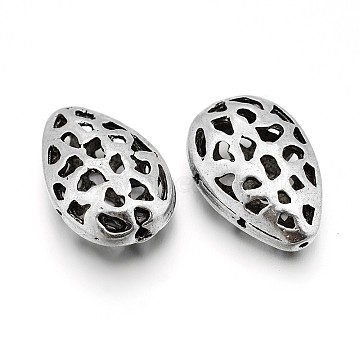 Hollow Teardrop Tibetan Style Alloy Filigree Beads, Antique Silver, 20x13x7mm, Hole: 0.5mm(PALLOY-J589-04AS)