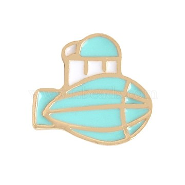 Creative Zinc Alloy Brooches, Enamel Lapel Pin, with Iron Butterfly Clutches or Rubber Clutches, Airship, Golden, PaleTurquoise, 13x14mm; Pin: 1mm(JEWB-Q031-105)