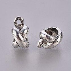 """Tibétains style """"x"""" liens de suspension en alliage de forme, Perles renflouer , sans plomb et sans nickel, argent antique, 11.5x6x8.5mm, Trou: 2mm, diamètre intérieur: 5 mm(X-TIBE-Q043-14AS-FF)"""