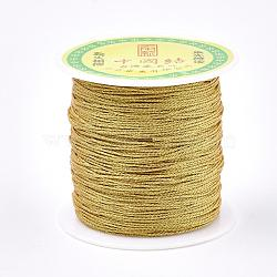 Nylon Thread, with Metallic Cords, Gold, 1.0mm; about 100m/roll(NWIR-R030-01)
