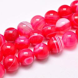 Natural Striped Agate/Banded Agate Bead Strands, Dyed & Heated, Round, Grade A, PaleVioletRed, 10mm, Hole: 1mm; about 39pcs/strand, 15.2inches(387mm)