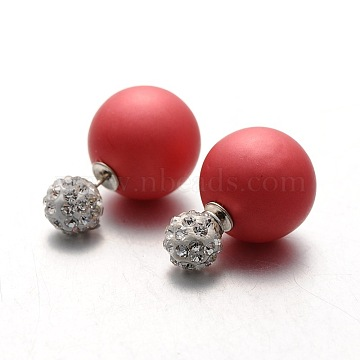 Frosted Plastic Pearl with Polymer Clay Rhinestone Ball Stud Earrings, Red, 8~16mm, Pin: 0.8mm(EJEW-N0005-04)