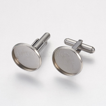 304 Stainless Steel Cuffinks, Flat Round, Stainless Steel Color, Tray: 18mm(STAS-G187-23P-18mm)
