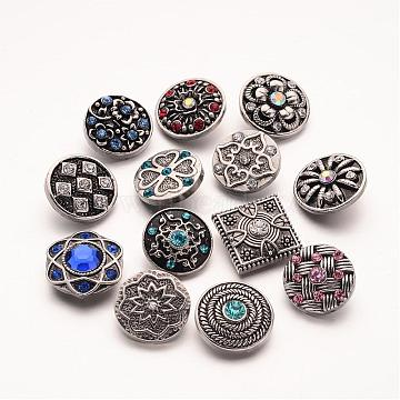 20mm Antique Silver Mixed Color Flat Round Alloy + Rhinestone Button