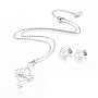 Stainless Steel Stud Earrings & Necklaces(SJEW-I197-01P)