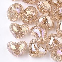 Perles en acrylique transparentes craquelées, demi-percés perles, cœur, saumon foncé, 14.5x18x13mm, demi-trou: 3.5 mm(TACR-S148-04E)