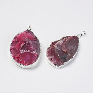 Silver IndianRed Nuggets Natural Agate Big Pendants