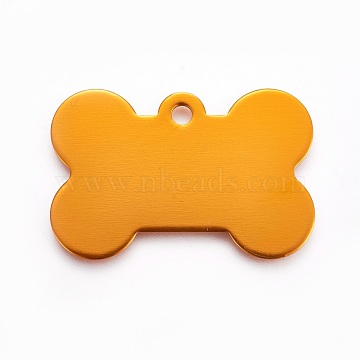 Pendentifs en aluminium, pet tag, os, orange, 25x38x1mm, Trou: 3mm(ALUM-WH0007-01A)