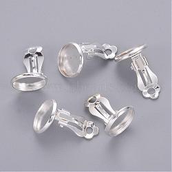 Monture plate en laiton à clip, Accessoires de bijoux, sans nickel, couleur argentée, 16x14 mm; plateau: 12 mm(X-KK-I007-S-NF)