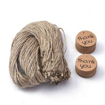 Thank You Paper Gift Tags, Hang Tags, with Jute Twine, for Wedding Thanksgiving, Flat Round, Tan, 3.5x0.01cm, Hole: 3mm, 100pcs/set; Jute Twine: about 51~52cm(CDIS-P002-03)