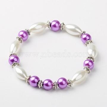 Glass Pearl Stretchy Bracelets, with Tibetan Style Beads, DarkOrchid, 55mm(X-BJEW-JB01178-03)