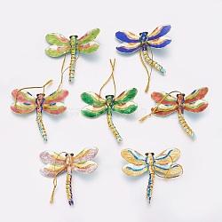 Cloisonné main gros pendentifs, libellule, couleur mixte, taille:  Largeur environ 77mm, Longueur 77mm, épaisseur de 13mm, Trou: 3mm, 10 pièces / boîte(CLB-49X31-1)