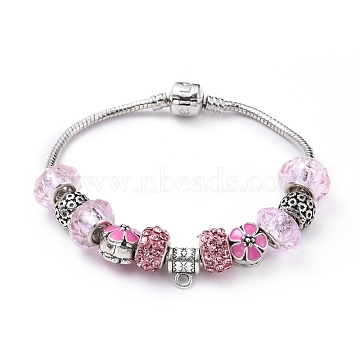 "Brass European Bracelets, with Polymer Clay Rhinestone Rondelle Beads, Alloy Enamel Flower Beads, Handmade Glass Rondelle Beads and Tibetan Style Alloy Bail Beads, Pink, 7-1/2""(19cm)(BJEW-JB04798-03)"