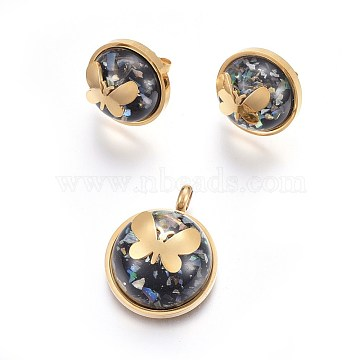 304 Stainless Steel Jewelry Sets, Pendant and Stud Earrings, with Resin, Half Round with Butterfly, Golden, 28x22x12.5mm, hole: 4mm; 18mm; Pin: 0.8mm(SJEW-F186-03G)