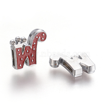 Alloy Enamel Rhinestone Slide Charms, Letter, Platinum Metal Color, Letter.W, OldRose, 18x18x4mm, Hole: 1x8mm(X-ENAM-A126P-W06)