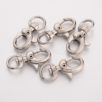 Iron Swivel Lobster Claw Clasps, Swivel Snap Hook, Vintage Jewelry Findings, Platinum, 33x14x6mm, Hole: 6.5x10mm(E546Y)