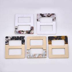 Boucles en aluminium et acétate de cellulose (résine), rectangle, couleur mixte, 70x58x4.5~5mm, Trou: 39x20.5mm(ALUM-S016-05)
