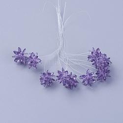 стеклянные бусы, цветок / бенгальский, изготовлен из конских глазных чар, фиолетовый, 13 mm(EGLA-L014-21I)