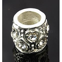 Perles de strass en alliage, sans plomb et sans cadmium, Grade a, tambour, de couleur métal argent, clair, 12x13mm, Trou: 7.5mm(X-CPDL-A002-70)