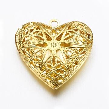 Brass Diffuser Locket Pendants, Heart, Golden, 26x25.5x7mm, Hole: 1.5mm(X-KK-N0116-013G)