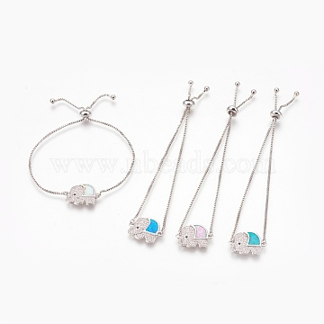 Adjustable Brass Bolo Bracelets, Slider Bracelets, with Synthetic Opal and Cubic Zirconia, Elephant, Mixed Color, Platinum, 8-5/8inches(22cm); 1mm(BJEW-O166-01P)