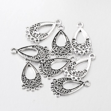 Tibetan Style Chandelier Component Links, Lead Free and Cadmium Free and Nickel Free, teardrop, Antique Silver, 28x15.5x1mm, Hole: 1.5mm(X-EA434Y-NF)