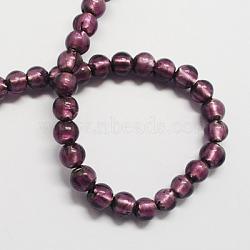 Perles en verre d'argent feuille manuelles, rond, indigo, 8mm, Trou: 2mm(X-FOIL-R054-10)
