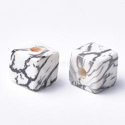Perles acryliques imprimées, cube, noir, 12x12x12mm, Trou: 3.5mm(MACR-T024-63A)