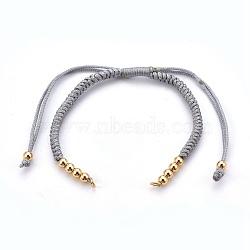 """Fabrication de bracelet tressé avec cordon en nylon, avec des perles en laiton, or, grises , 10-1/4""""~11-7/8"""" (26~30cm); 3mm(MAK-E665-06F)"""