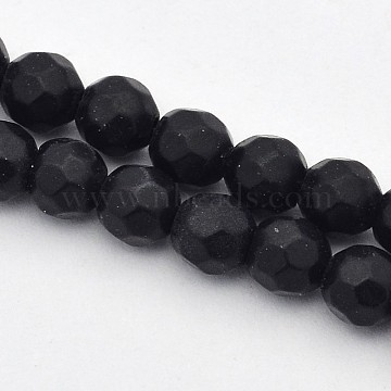 Faceted Round Natural Black Stone Beads Strands, 4mm, Hole: 1mm; about 90pcs/strand, 15.35 inches(G-E302-066-4mm)