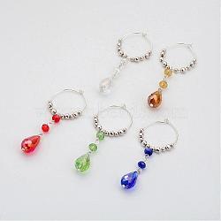 perles de verre vin charmes de verre, avec cerceau en laiton et perles de fer, couleur mélangée, 68x26x0.8 mm; 5 PCs / ensemble(AJEW-JO00143)
