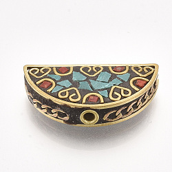Handmade Indonesia Beads, with Brass Findings, Half Round, Golden, DarkTurquoise, 16x30x7mm, Hole: 2mm(X-IPDL-S053-192)