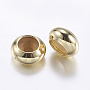 Brass Beads, with Rubber Inside, Slider Beads, Stopper Beads, Rondelle, Golden, 7x3.5mm, Hole: 2mm