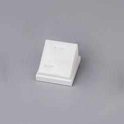 Pu bijoux en cuir pendentif affiche, avec planche, carrée, blanc, 5.1x3.7x5.2 cm(PDIS-G006-02)