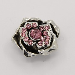 Boutons en alliage de zinc en alliage antique, rose boutons pression de bijoux, rose clair, 23.5x20x11 mm; bouton: 5 mm(X-SNAP-M004-16)