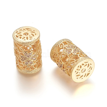 Brass Micro Pave Clear Cubic Zirconia Beads, Long-Lasting Plated, Hollow, Column with Flower, Clear, Golden, 18x12.5mm, Hole: 2mm(X-ZIRC-I035-03G-A)