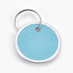 pendentifs en aluminium, avec fermoirs porte-clés en papier et en fer, plat rond, platine, Bleu ciel, 31x1 mm; anneau: 19x1 mm, trou: 17 mm(FIND-WH0025-04)